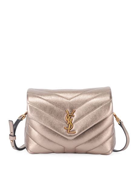 saint laurent loulou monogram ysl small  flap metallic leather shoulder bag neiman marcus