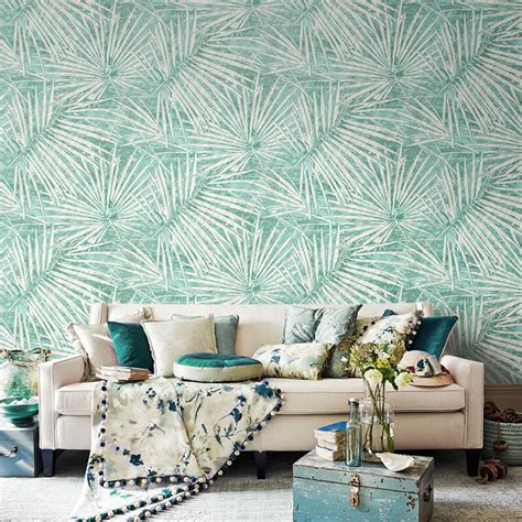 southeast asia palm tree leaves wallpaper modern