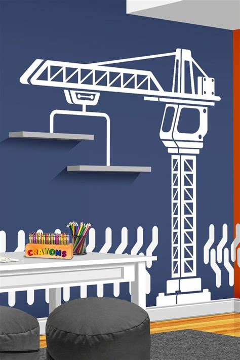 Construction Room Decor by Construction Crane Vinyl Wall Decal Bedroom Playroom Or