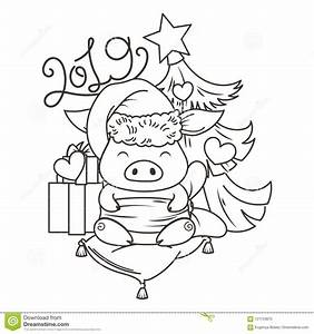 Cute 2019 Pig Cartoon Coloring Page