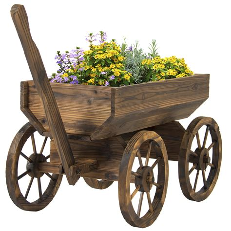 Patio Plant Stands Wheels by Garden Wood Wagon Flower Planter Pot Stand With Wheels