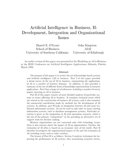 (PDF) Artificial intelligence in business II: Development