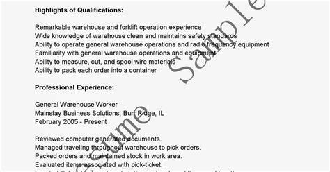 General Warehouse Worker Resume by Resume Sles General Warehouse Worker Resume Sle