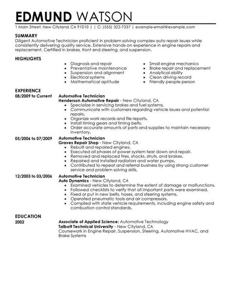 Resume Format For Technician by Sle Automotive Technician Resume For Any Career In