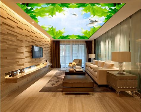 Wallpaper 3d Stereoscopic Maple Sky Cloud Ceiling 3d