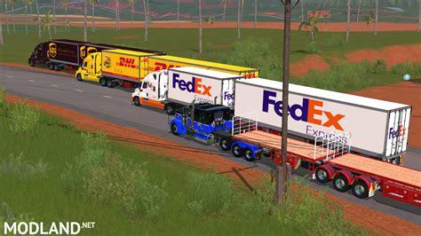 B-double Box Trailers Ups, Dhl, Fedex Mod Farming Simulator 17
