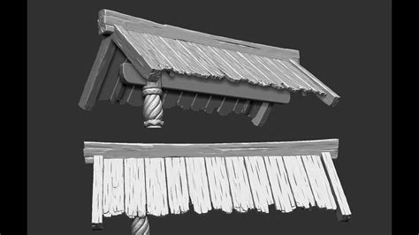 zbrush sculpting wooden gate part roof youtube