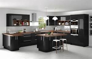 Cuisine noire et bois moderne et elegante for Idee deco cuisine avec cuisine aménagée contemporaine