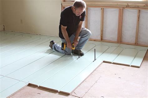 Warmboard R panels install directly over existing slab or