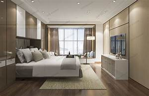 Luxury, Modern, Bedroom, Suite, In, Hotel, With, Chinese, Style, 3d