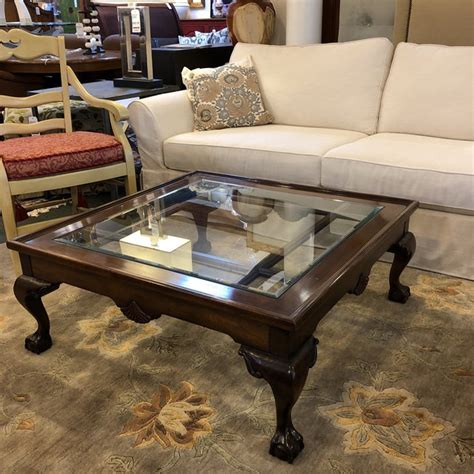 Greenview rustic solid wood half barrel coffee table. Square Wood & Glass Insert Coffee Table | Chairish