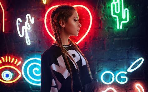 neon wall  girl hd girls  wallpapers images