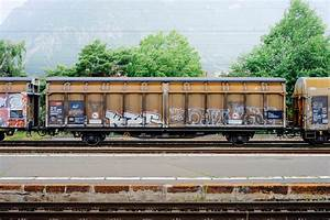 Free Images : track, railway, wagon, cloudy, old, train ...