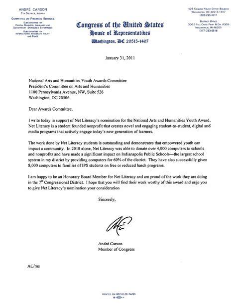 letter of support senator lugar and congressman carson endorse net literacy