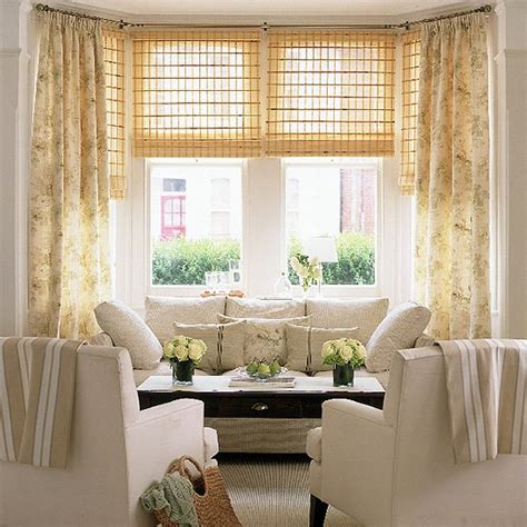 living room with furniture floral curtains and