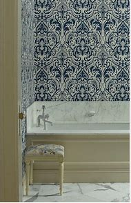 Navy Blue and White Tile Bathroom