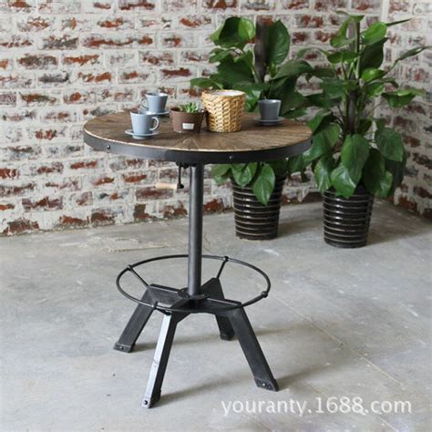 small round bar table excellent natural wood home vintage american iron bar