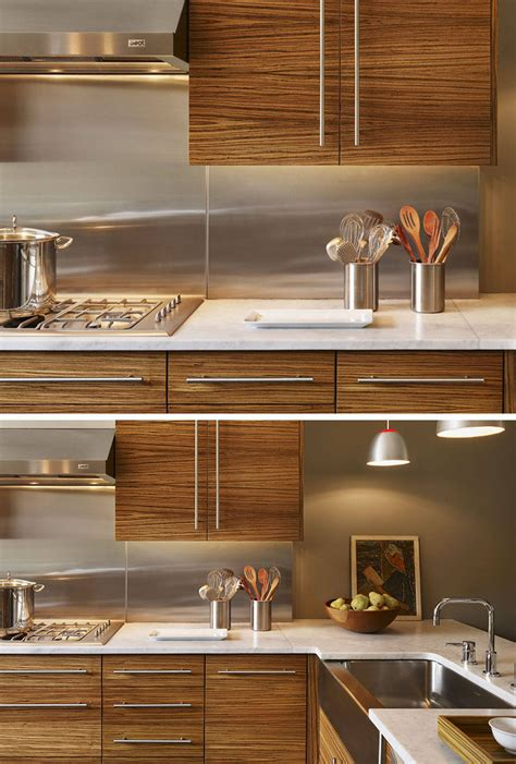 kitchen design idea install  stainless steel backsplash