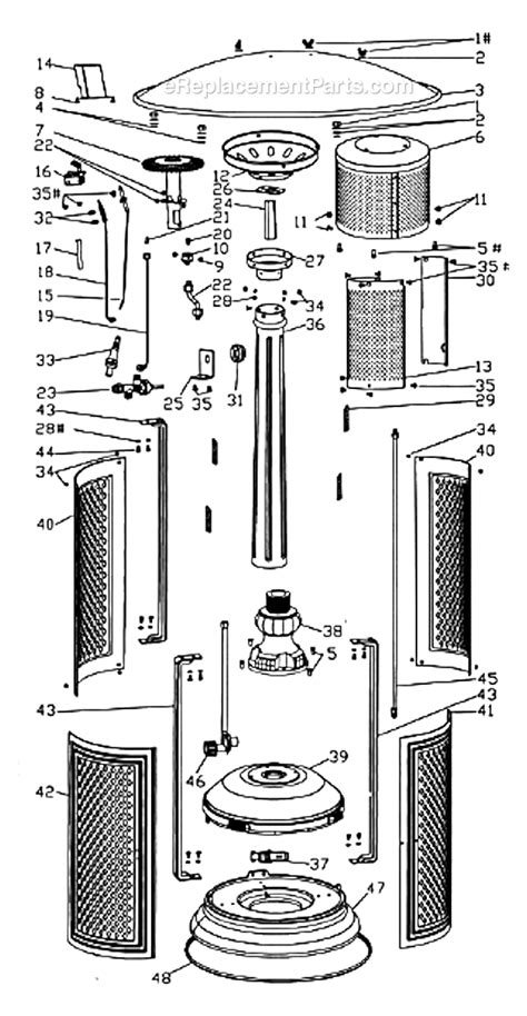 patio heater parts patio comfort pc 02 parts list and diagram vintage