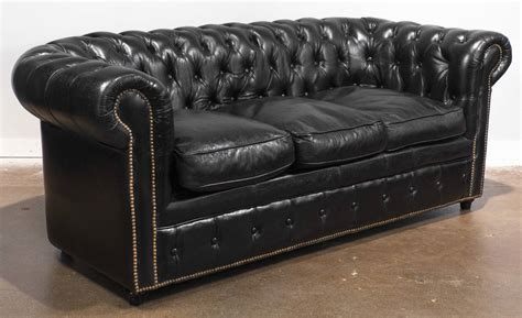 leather chesterfield sofa vintage black leather chesterfield sofa at 1stdibs