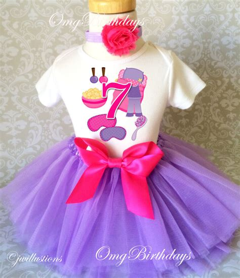 sleepover spa pink purple girl  birthday tutu shirt