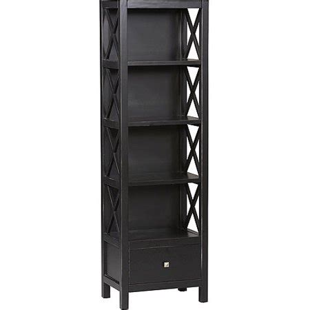 walmart black bookshelf collection narrow 5 shelf bookcase walmart