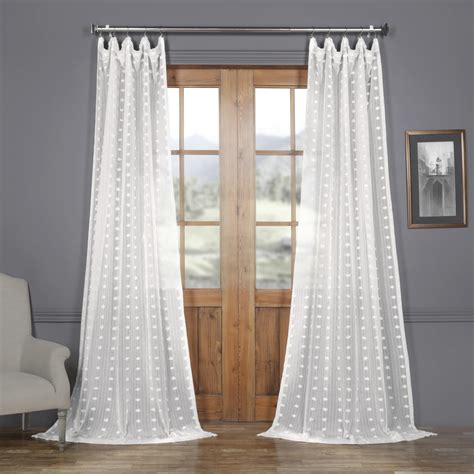 Patterned Curtains And Drapes - strasbourg dot patterned faux linen sheer curtain