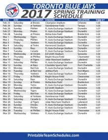 Toronto Blue Jays Printable Schedule 2017