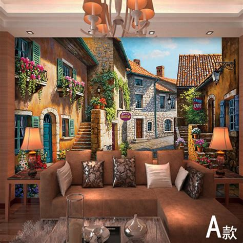 European Town Mural Wallpaper Landscape Full Wall Murals