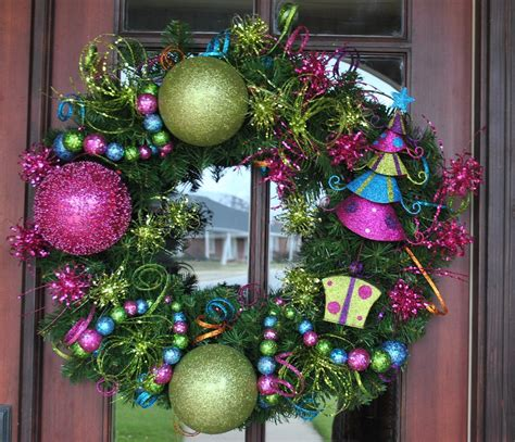 hot pink  lime green christmas tree wreath
