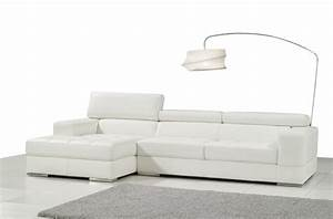 canape d39angle en cuir italien 5 places perle blanc With canape cuir blanc italien