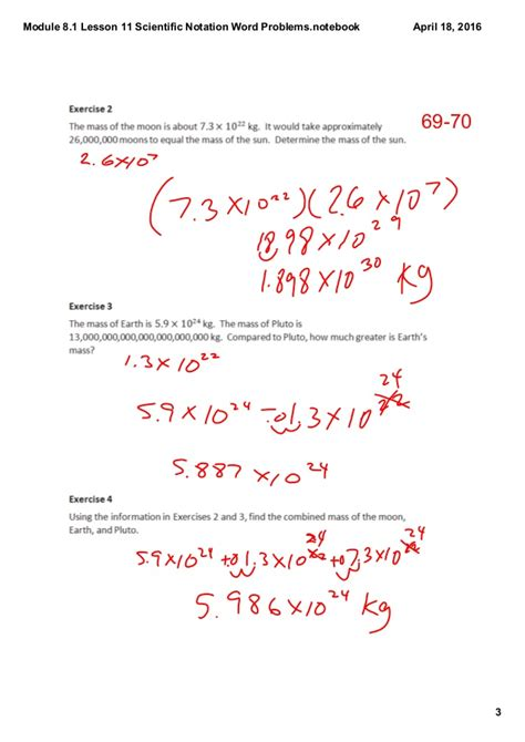 Module 81 Lesson 11 Scientific Notation Word Problems