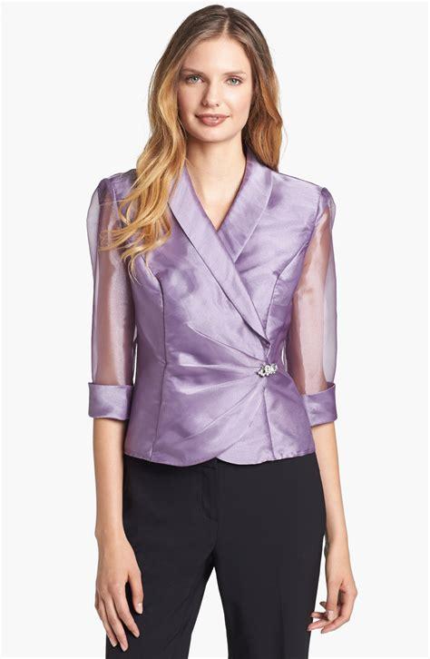 evening blouse alex evenings embellished wrap blouse in purple dusty