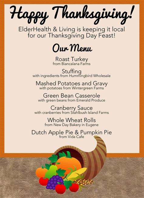 menu for thanksgiving elderhealth living alzheimer s and dementia care community