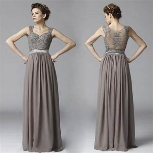 cheap elegant long gray lace chiffon beach bridesmaid With formal dresses for wedding party