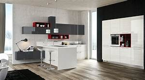 red gray white kitchen interior design ideas With red and grey kitchen designs