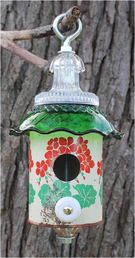 red green flowers birdhouse vintage kitchen tin recycled