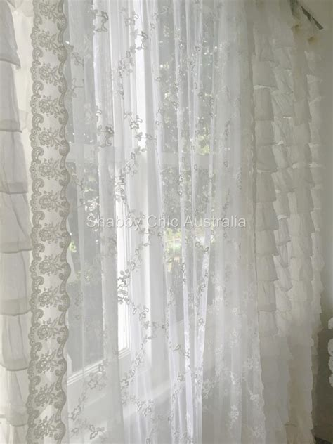blue sheer curtains australia shabby country curtain drape vintage ivory lace