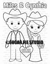 Coloring Country Groom Western Bride Printable Activity Personalized Pdf Favor Pie Sugar Studio Childrens Template sketch template