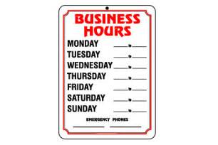 Business Open Closed Signs with Hours
