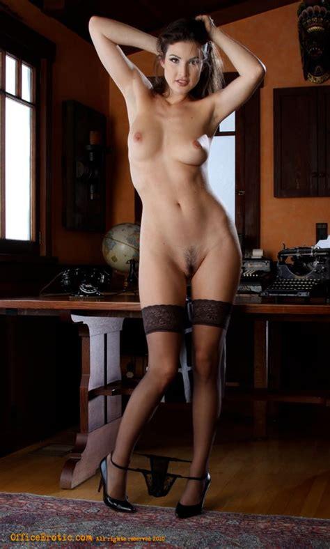 Hot Brunette In Black Stockings Gets Naked Xxx Dessert