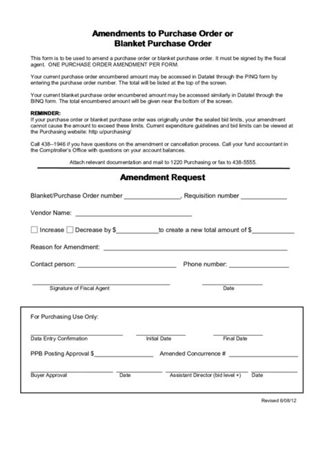 amendments  purchase order  blanket purchase order