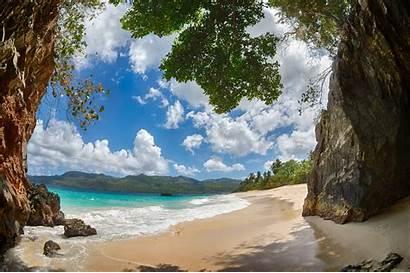 Tropical Caribbean Island Landscape Mountain Dominican Republic
