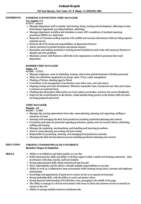 Kitchen Manager Skills Resume by Chef Manager Resume Sles Velvet