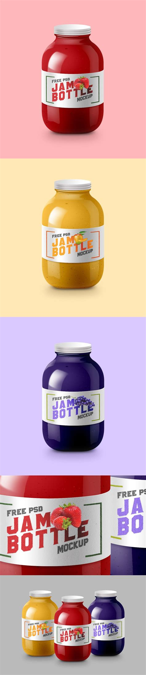 33cm x 19cm (in 300 dpi) all download from free file storage. Free Glossy Jam Bottle Mockup PSD - CreativeBooster