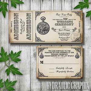 steampunk printable ticket wedding invitation and rsvp With pocket watch wedding invitations