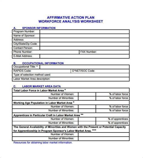 affirmative action plan templates