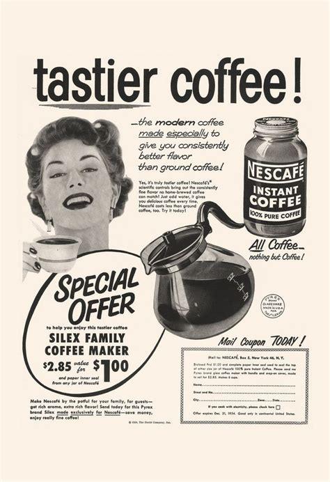 Set of vintage retro coffee labels on chalkboard. VINTAGE COFFEE AD - Retro Mid-Century Ad - Vintage Kitchen Poster, 50's Nescafe Ad, Retro Kitsch ...