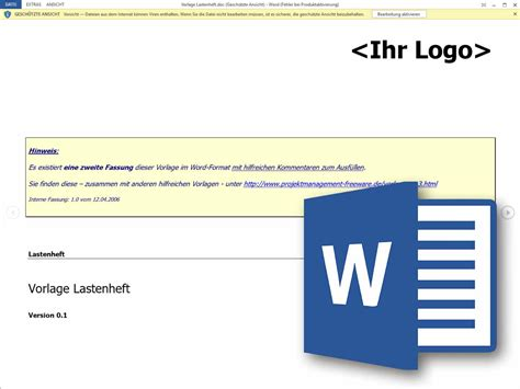 word vorlage lastenheft projektmanagement freeware