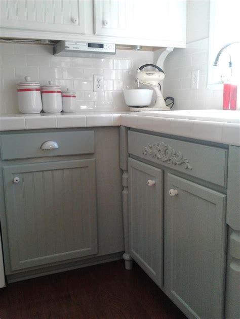 kitchen cabinet update oak  gray paint silver mink